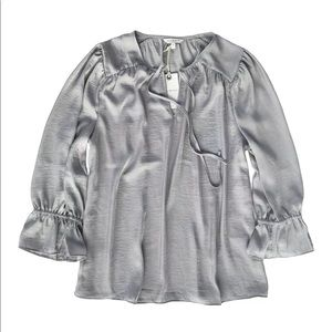 Lucky Brand Silver Gray Keyhole Peasant Blouse